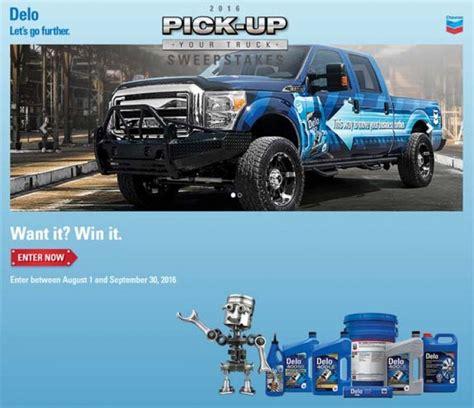 Delo Truck Sweepstakes - chevrondelo com delopromos com pick up your truck sweepstakes sweepstakes pit