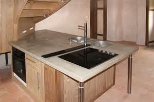 Charmant Plan Travail Cuisine Beton Cire #1: plan-de-travaill-cuisine-beton-cire-marron-clair.jpg