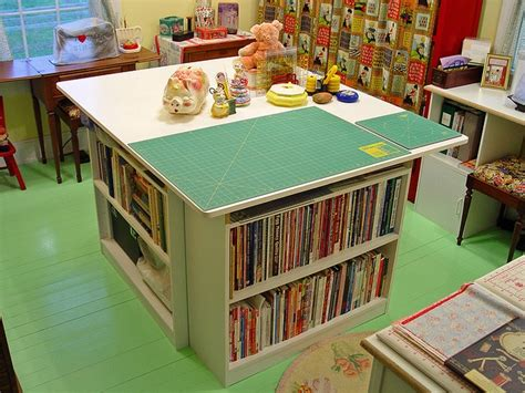 cutting table for sewing room another great cutting table made from 3 book shelves and a melamine top my quilting