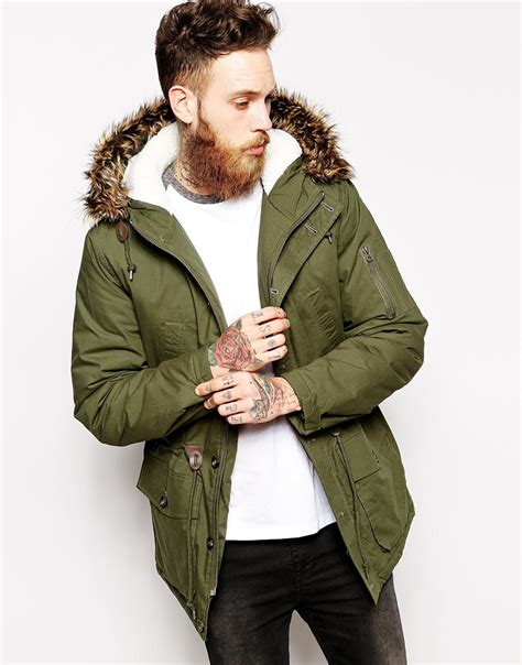 Asos Parka by Asos Parka Jacket In Green For Lyst