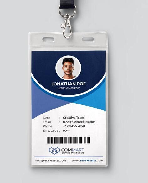 office identity card templates office identity card psd template free