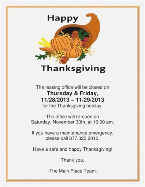Printable Signs Holiday Closings Download Them Or Print Thanksgiving Business Hours Template