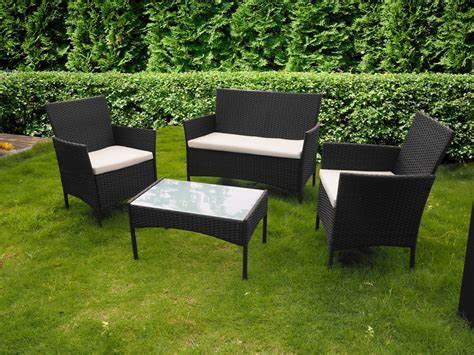 4 Piece All Weather Rattan Garden Furniture Set For Indoor Indoor Patio Furniture Sets