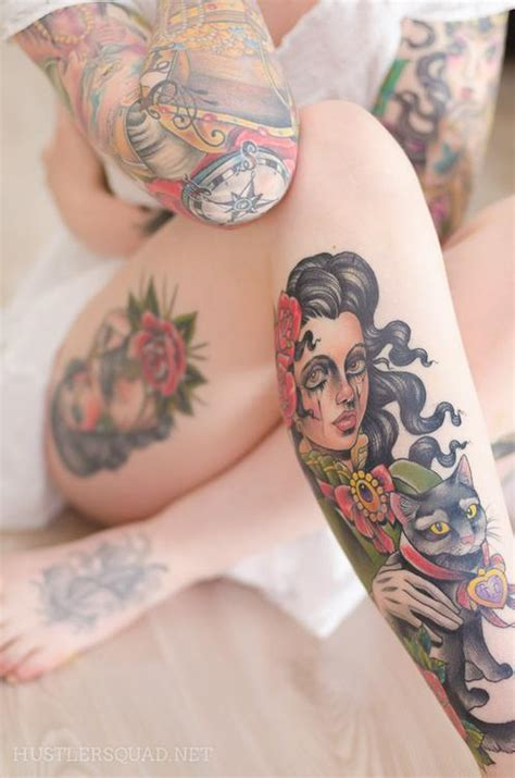 tattoo girl cat tattoos beauty girl ink image 572447 on favim com