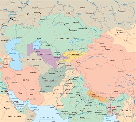 political map of central asia central asia political map