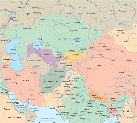 central asia political map central asia political map