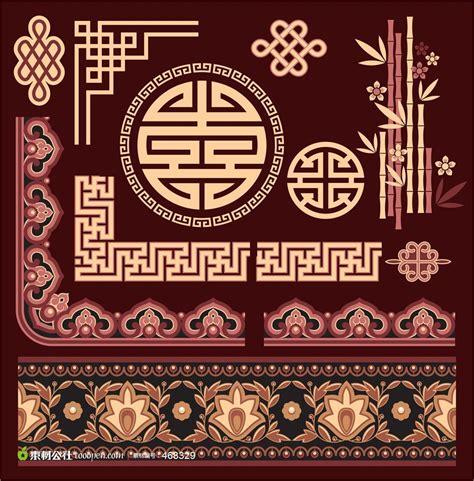 chinese design elements vector 中式花纹花边 素材公社 tooopen com