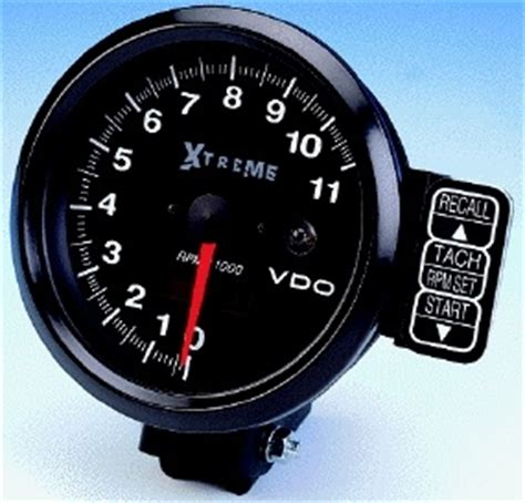 "vdo ""extreme"" 11000 rpm recording tachometer, black face"