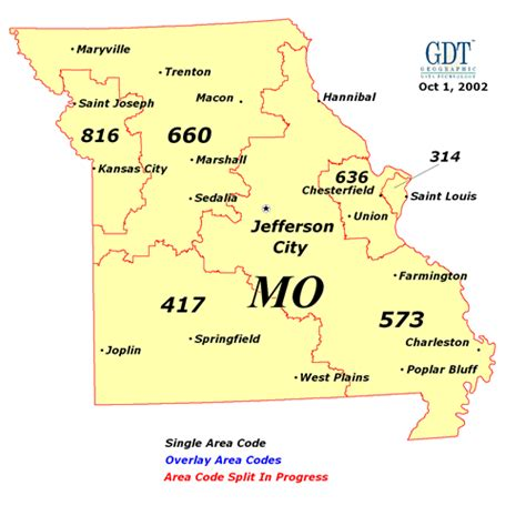 map missouri area codes 417 area code map