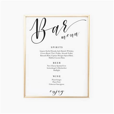 Wedding Drink Menu Template Hnc Wedding Drink Sign Template