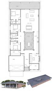 Skinny House Plans by Modern House Plan With Private Courtyard Full Wall Height