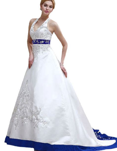Where To Get Wedding Dresses by Get Cheap Strapless Wedding Dress Blue And White