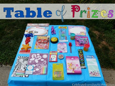 Games Giveaways - table of prizes a birthday party game celebrate every day with me