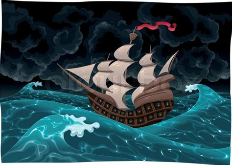 cartoon boat in storm ship in the storm stock vector colourbox