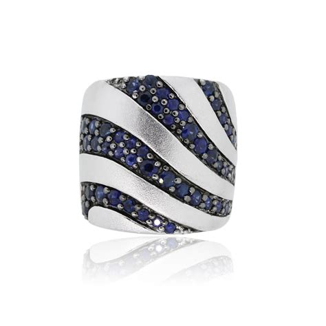 Band Ring by Effy Sterling Silver Blue Sapphire Band Ring Boca Raton