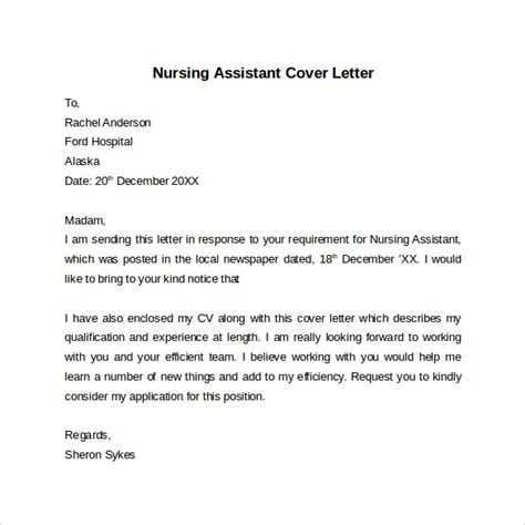 cover letter certified nursing assistant nursing cover letter template 9 free sles exles