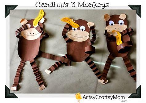 new year craft ideas monkey gandhi jayanti monkey craft with free printable artsy