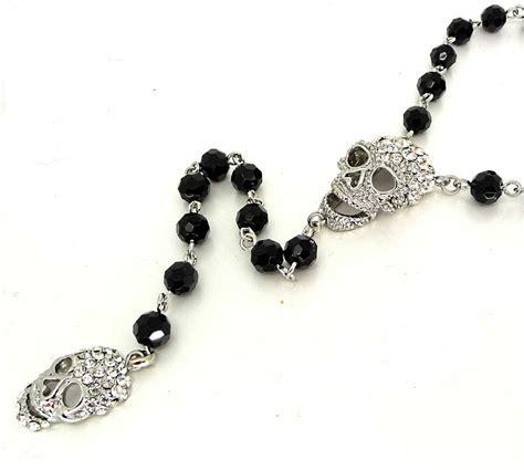 black rosary for butler and wilson silver skulls black rosary necklace ebay