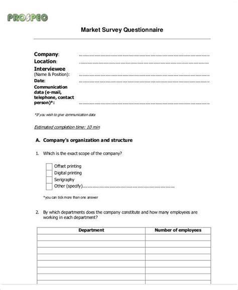 Market Survey - sle survey form