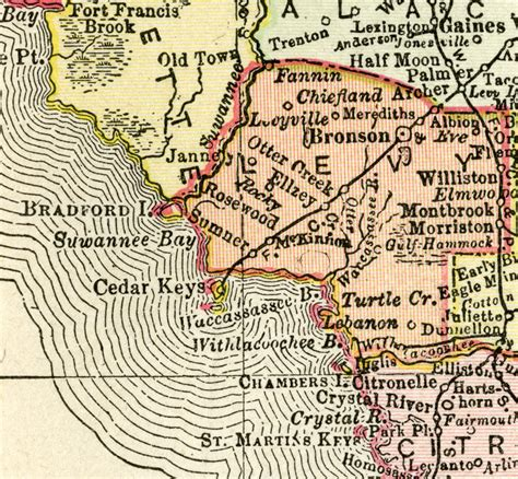 rosewood florida map levy county 1895