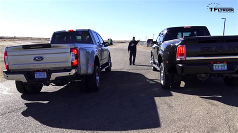 One Ton Dually Pickup Truck Drag Race Ends With A Win For