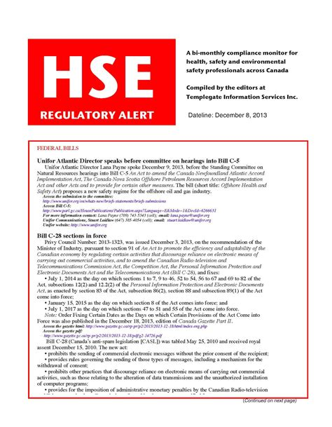 hse template hse regulatory alert designed to meet your information