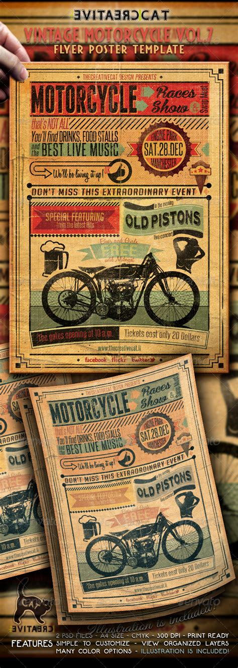 Vintage Motorcycle Flyer Poster Vol 7 By Thecreativecat Graphicriver Free Motorcycle Ride Flyer Template