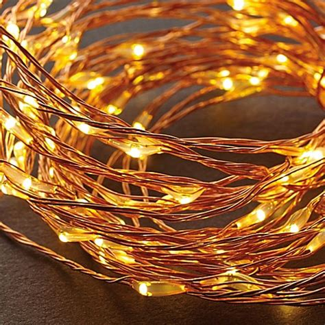 Led String Lights In Warm White Copper Bed Bath Beyond White String Lights Clearance