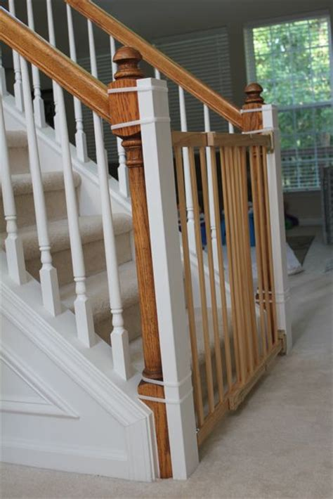 Child Gate For Stairs With Banister in the ordinary installing a baby gate without drilling into the banister tutorial
