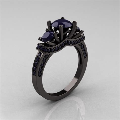 French 14K Black Gold Three Stone Dark Blue Sapphire Wedding
