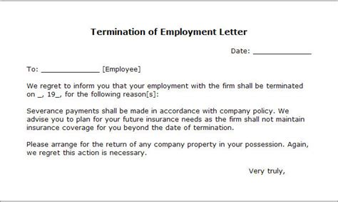 termination letter format for negligence sle termination letter without cause