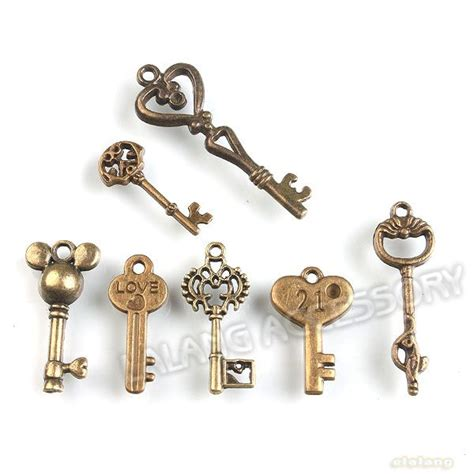 49x 142192 antique bronze charms assorted alloy
