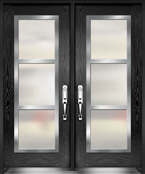 Double Entry Door With Stainless Steel Frame On Top Of Stainless Steel Exterior Door