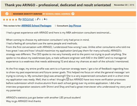 Mba Admissions Thank You by Gmat Club Mba Admission Consultant Reviews Of Aringo