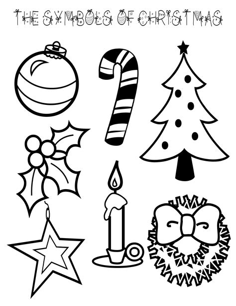 coloring sheets of christmas things symbols of christmas coloring page
