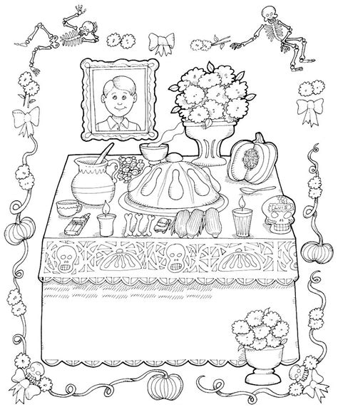 1000 Images About Mexico Lindo Y Querido On Pinterest Day Of The Dead Altar Coloring Pages