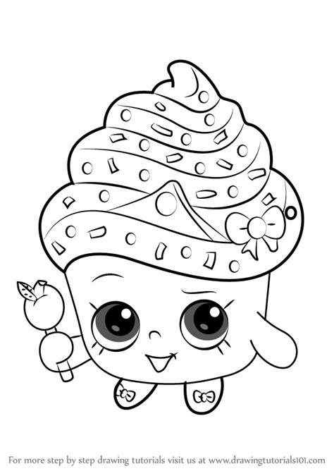 Learn How To Draw Cupcake Queen From Shopkins Shopkins Drawing Pages