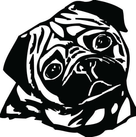 black pug clipart clip black and white pug cliparts