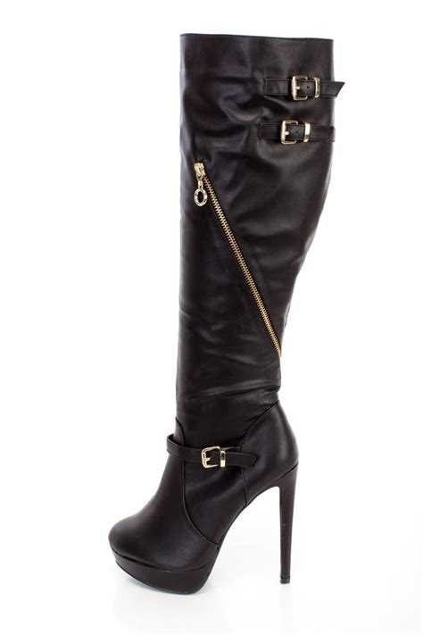 black high heel boots leather black knee high strappy high heel boots faux leather