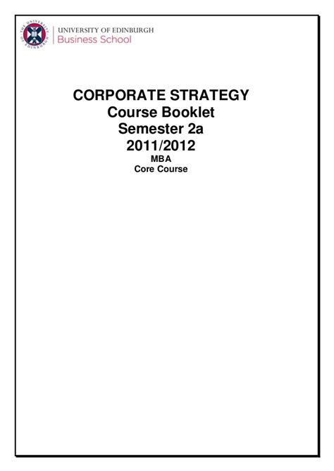 Corporate Strategy Mba by Corporate Strategy