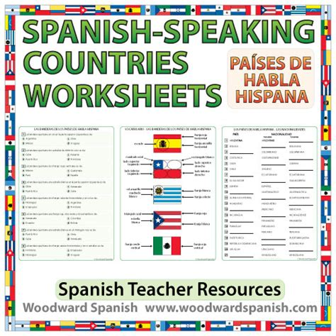 spanish speaking countries worksheets and activities spanish teacher resources pinterest