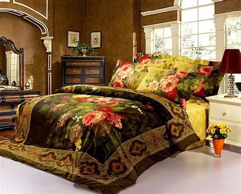red queen size comforter classic oil painting red flowers bedding sets queen king
