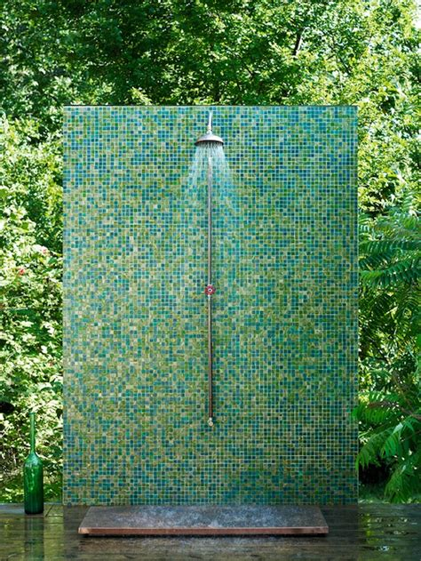 outdoor shower a glassy green outdoor shower design trend report