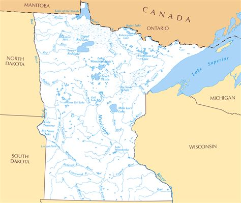 lakes in usa map large detailed rivers and lakes map of minnesota state