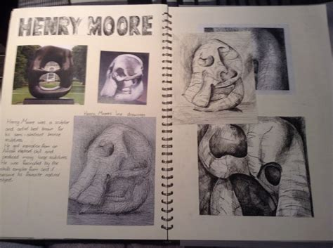 gcse sketchbook  noah walton henry moore