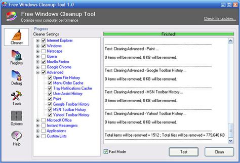Free Up by Free Windows Cleanup Tool