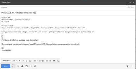 cara membuat surat lamaran kerja lewat email ben