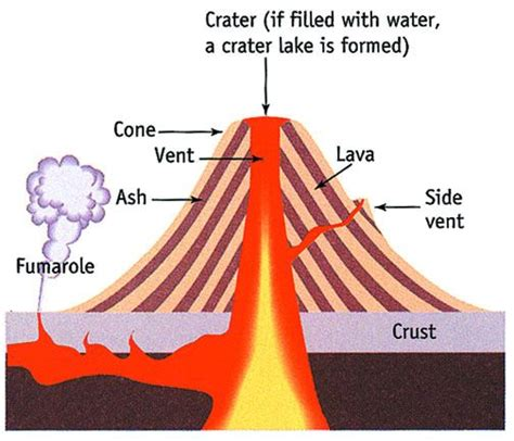 diagram of volcanoe volcano layers and facts composite volcano diagram