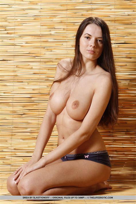Firm Boobed Brunette Drea Slips Off Her Blue Panties Boobgoddess