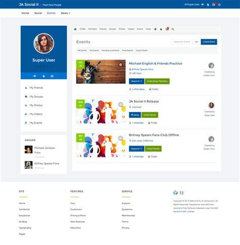 Joomla Social Media Template preview ja social ii responsive joomla social template